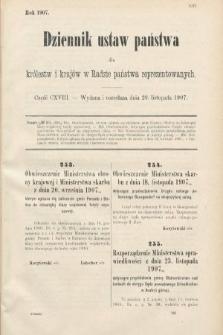 Dziennik Ustaw Państwa dla Królestw i Krajów w Radzie Państwa Reprezentowanych. 1907, cz.118