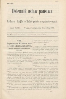 Dziennik Ustaw Państwa dla Królestw i Krajów w Radzie Państwa Reprezentowanych. 1907, cz.123