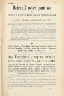 Dziennik Ustaw Państwa dla Królestw i Krajów w Radzie Państwa Reprezentowanych. 1906, cz.10