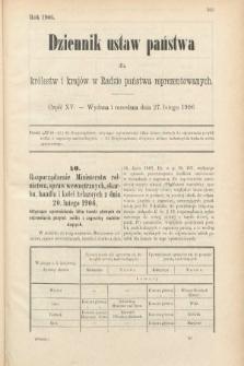 Dziennik Ustaw Państwa dla Królestw i Krajów w Radzie Państwa Reprezentowanych. 1906, cz.15