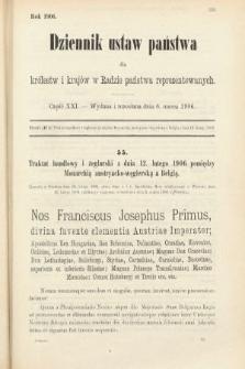 Dziennik Ustaw Państwa dla Królestw i Krajów w Radzie Państwa Reprezentowanych. 1906, cz.21