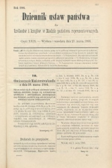 Dziennik Ustaw Państwa dla Królestw i Krajów w Radzie Państwa Reprezentowanych. 1906, cz.29