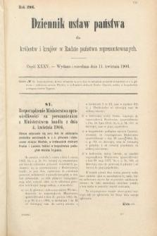 Dziennik Ustaw Państwa dla Królestw i Krajów w Radzie Państwa Reprezentowanych. 1906, cz.35