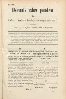 Dziennik Ustaw Państwa dla Królestw i Krajów w Radzie Państwa Reprezentowanych. 1906, cz.44