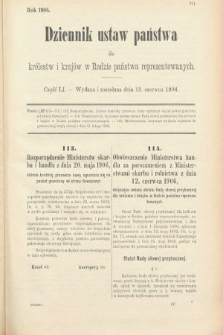 Dziennik Ustaw Państwa dla Królestw i Krajów w Radzie Państwa Reprezentowanych. 1906, cz.51