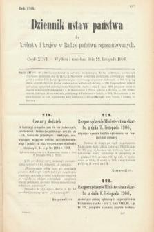 Dziennik Ustaw Państwa dla Królestw i Krajów w Radzie Państwa Reprezentowanych. 1906, cz.96
