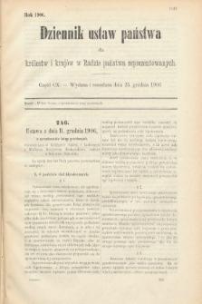 Dziennik Ustaw Państwa dla Królestw i Krajów w Radzie Państwa Reprezentowanych. 1906, cz.110