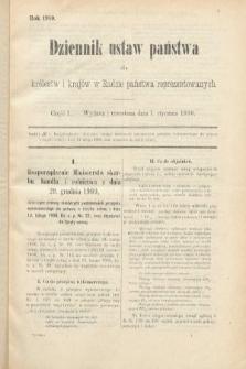 Dziennik Ustaw Państwa dla Królestw i Krajów w Radzie Państwa Reprezentowanych. 1910, cz.1