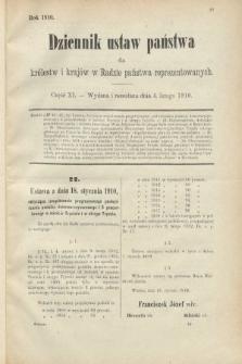 Dziennik Ustaw Państwa dla Królestw i Krajów w Radzie Państwa Reprezentowanych. 1910, cz.11