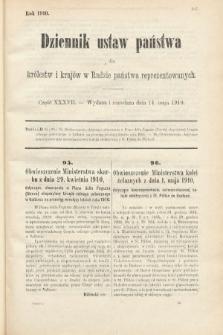 Dziennik Ustaw Państwa dla Królestw i Krajów w Radzie Państwa Reprezentowanych. 1910, cz.37