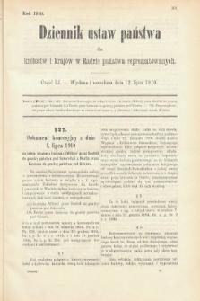 Dziennik Ustaw Państwa dla Królestw i Krajów w Radzie Państwa Reprezentowanych. 1910, cz.51