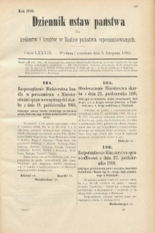 Dziennik Ustaw Państwa dla Królestw i Krajów w Radzie Państwa Reprezentowanych. 1910, cz.83