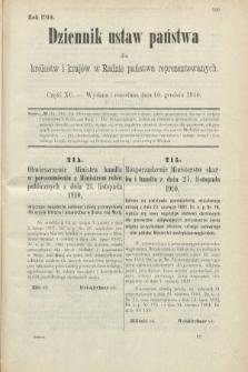 Dziennik Ustaw Państwa dla Królestw i Krajów w Radzie Państwa Reprezentowanych. 1910, cz.90