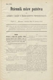 Dziennik Ustaw Państwa dla Królestw i Krajów w Radzie Państwa Reprezentowanych. 1910, cz.101