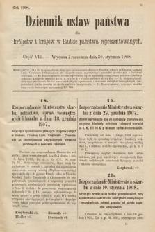 Dziennik Ustaw Państwa dla Królestw i Krajów w Radzie Państwa Reprezentowanych. 1908, cz.8