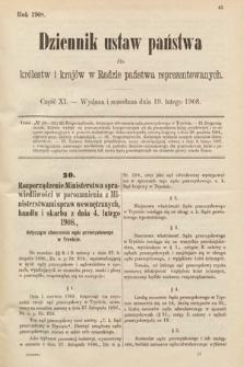 Dziennik Ustaw Państwa dla Królestw i Krajów w Radzie Państwa Reprezentowanych. 1908, cz.11