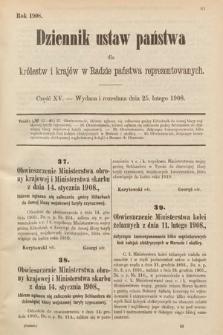 Dziennik Ustaw Państwa dla Królestw i Krajów w Radzie Państwa Reprezentowanych. 1908, cz.15