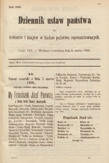 Dziennik Ustaw Państwa dla Królestw i Krajów w Radzie Państwa Reprezentowanych. 1908, cz.19