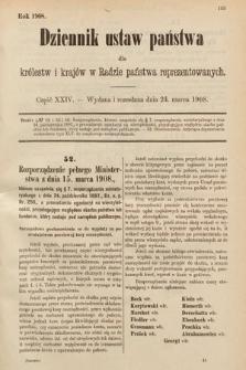 Dziennik Ustaw Państwa dla Królestw i Krajów w Radzie Państwa Reprezentowanych. 1908, cz.24