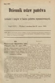 Dziennik Ustaw Państwa dla Królestw i Krajów w Radzie Państwa Reprezentowanych. 1908, cz.26