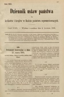 Dziennik Ustaw Państwa dla Królestw i Krajów w Radzie Państwa Reprezentowanych. 1908, cz.29