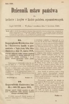 Dziennik Ustaw Państwa dla Królestw i Krajów w Radzie Państwa Reprezentowanych. 1908, cz.33