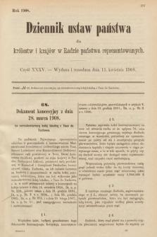 Dziennik Ustaw Państwa dla Królestw i Krajów w Radzie Państwa Reprezentowanych. 1908, cz.35