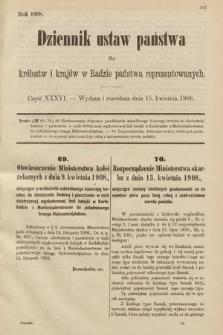 Dziennik Ustaw Państwa dla Królestw i Krajów w Radzie Państwa Reprezentowanych. 1908, cz.36