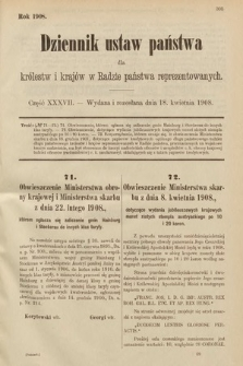 Dziennik Ustaw Państwa dla Królestw i Krajów w Radzie Państwa Reprezentowanych. 1908, cz.37