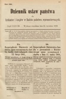 Dziennik Ustaw Państwa dla Królestw i Krajów w Radzie Państwa Reprezentowanych. 1908, cz.38