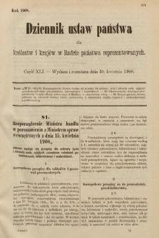 Dziennik Ustaw Państwa dla Królestw i Krajów w Radzie Państwa Reprezentowanych. 1908, cz.41