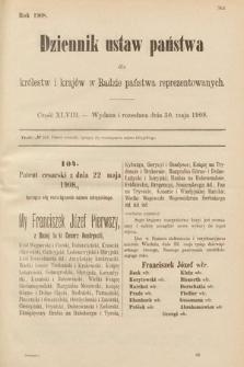 Dziennik Ustaw Państwa dla Królestw i Krajów w Radzie Państwa Reprezentowanych. 1908, cz.48