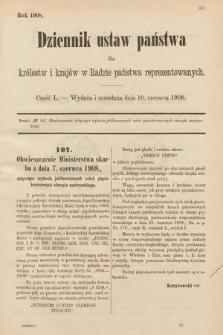 Dziennik Ustaw Państwa dla Królestw i Krajów w Radzie Państwa Reprezentowanych. 1908, cz.50