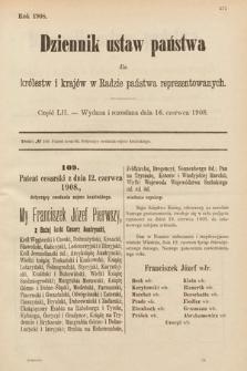 Dziennik Ustaw Państwa dla Królestw i Krajów w Radzie Państwa Reprezentowanych. 1908, cz.52