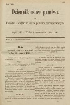 Dziennik Ustaw Państwa dla Królestw i Krajów w Radzie Państwa Reprezentowanych. 1908, cz.57