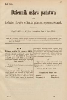 Dziennik Ustaw Państwa dla Królestw i Krajów w Radzie Państwa Reprezentowanych. 1908, cz.58