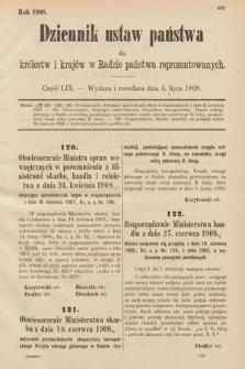 Dziennik Ustaw Państwa dla Królestw i Krajów w Radzie Państwa Reprezentowanych. 1908, cz.59