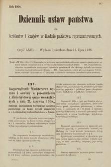 Dziennik Ustaw Państwa dla Królestw i Krajów w Radzie Państwa Reprezentowanych. 1908, cz.63
