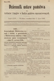 Dziennik Ustaw Państwa dla Królestw i Krajów w Radzie Państwa Reprezentowanych. 1908, cz.64