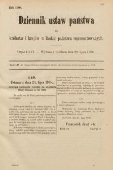 Dziennik Ustaw Państwa dla Królestw i Krajów w Radzie Państwa Reprezentowanych. 1908, cz.66