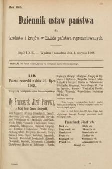 Dziennik Ustaw Państwa dla Królestw i Krajów w Radzie Państwa Reprezentowanych. 1908, cz.69