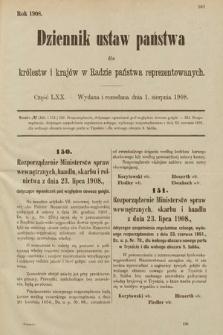 Dziennik Ustaw Państwa dla Królestw i Krajów w Radzie Państwa Reprezentowanych. 1908, cz.70