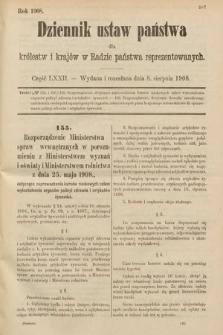 Dziennik Ustaw Państwa dla Królestw i Krajów w Radzie Państwa Reprezentowanych. 1908, cz.72