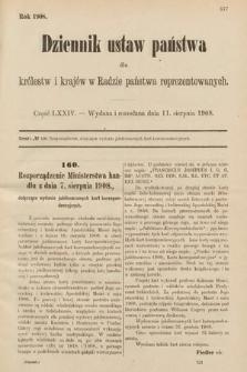 Dziennik Ustaw Państwa dla Królestw i Krajów w Radzie Państwa Reprezentowanych. 1908, cz.74