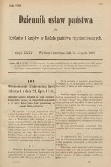 Dziennik Ustaw Państwa dla Królestw i Krajów w Radzie Państwa Reprezentowanych. 1908, cz.75