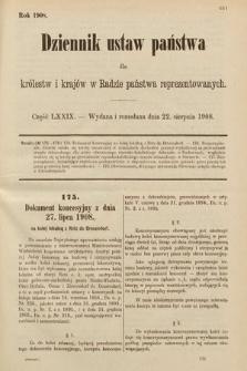 Dziennik Ustaw Państwa dla Królestw i Krajów w Radzie Państwa Reprezentowanych. 1908, cz.79