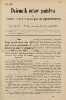 Dziennik Ustaw Państwa dla Królestw i Krajów w Radzie Państwa Reprezentowanych. 1908, cz.81