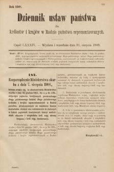 Dziennik Ustaw Państwa dla Królestw i Krajów w Radzie Państwa Reprezentowanych. 1908, cz.84