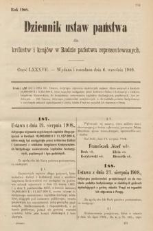 Dziennik Ustaw Państwa dla Królestw i Krajów w Radzie Państwa Reprezentowanych. 1908, cz.87