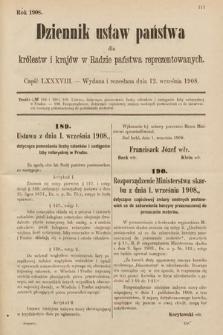 Dziennik Ustaw Państwa dla Królestw i Krajów w Radzie Państwa Reprezentowanych. 1908, cz.88